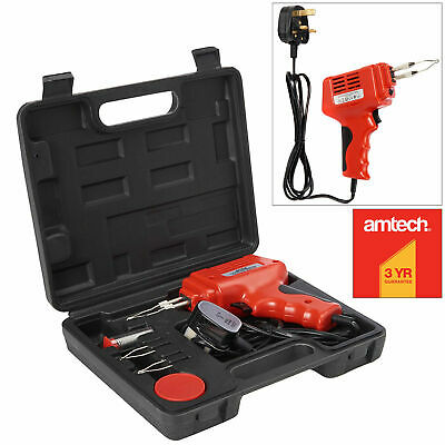Amtech Soldering Iron 175W Electric Electrical Solder Gun Kit 240V -2 Spare Tips