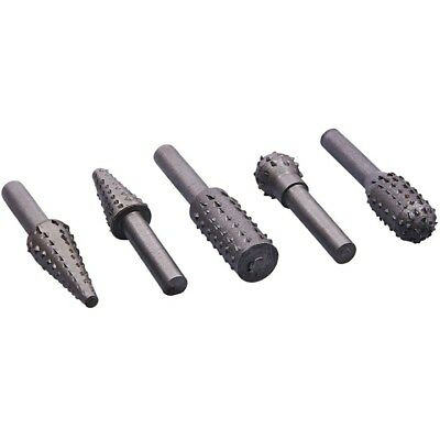 5 ROTARY BURR SET Wood Carving File Rasp Power Drill Bits Large Cone Ball Oval+