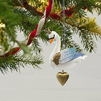 Premium Seven Swans-a-Swimming Twelve Days of Christmas Happy New Year Ornament