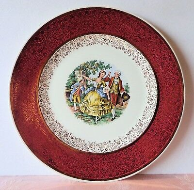 Royal China EMPIRE GODEY Burgundy Rim People Gold Filigree Serving Chop Plate