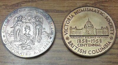 Victoria Numismatic Society 1962 silver medal and 1958 in bronze