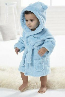 Embroidered Personalised Soft Baby Dressing Gown Bath Robe Teddy design babies
