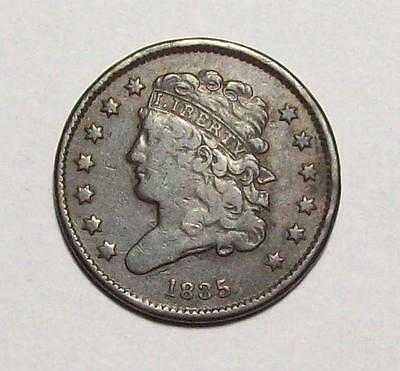 1835 CLASSIC HEAD HALF CENT  Rotated Reverse Original Fine  #38 B14