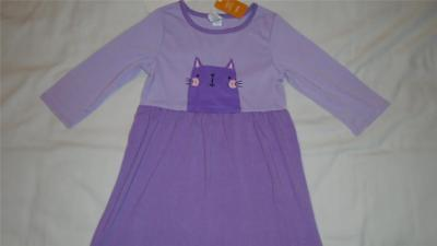 NEW Girls Size 7-8 Gymboree Nightgown w/ Cat Purple 3/4 Sleeve 2016 Line NWT