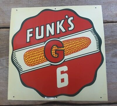 Vintage FUNK'S G 6 Metal Sign Hybrid Seed Corn Tin Early Advertising 1 x 1 ft sq
