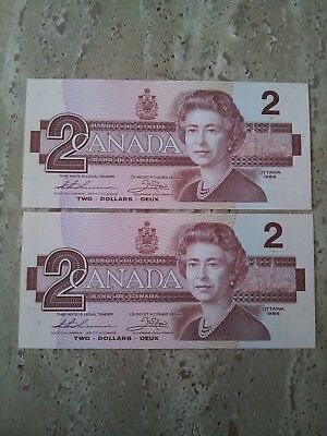 Pair of Consecutive 1986 Bank of Canada Two Dollar Notes - UNC