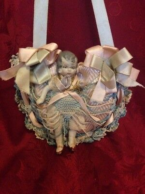 Antique Crochet And Satin Hanging Pincushion With Bisque Doll