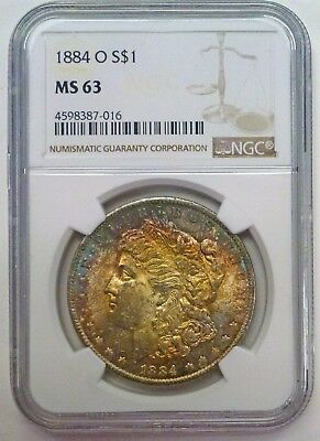 {BJStamps}  1884-O MORGAN Silver DOLLAR NGC MS63  RAINBOW TONING