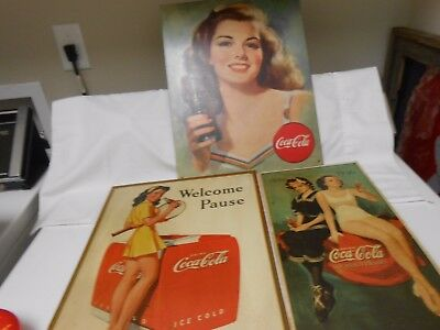 Vintage Coca Cola Signs, Three Together