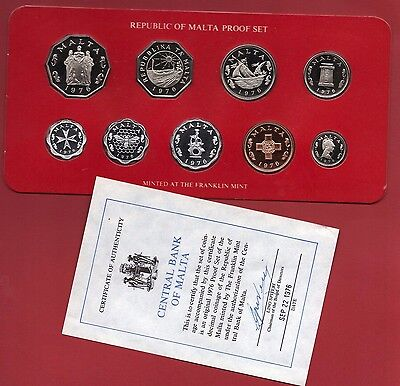 1976 Malta Proof Coin Set.  Mint Condition. In Card But With No Box.