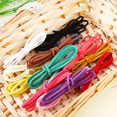 3/10X 1M Flat Real Suede  Leather Cord Lace Thong Jewellery Making-String Craft#