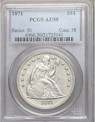 1871 PCGS AU50 Seated Liberty Silver Dollar Nice Eye Appeal Type Coin About Unc