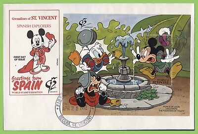 St Vincent 1992 Disney 'Grenada 92' Explorers miniature sheet on First Day Cover