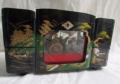 Vintage Japanese Black Lacquer Jewelry Box  Lights, Music (Lara's Theme) Motion