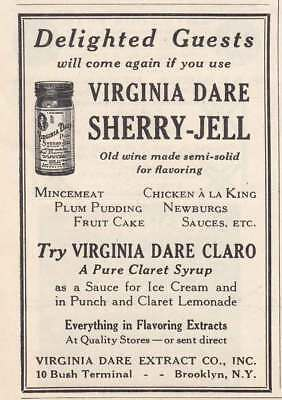1927 Virginia Dare Sherry Jell: Delighted Guests (22724) Print Ad