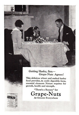 1920 Grape Nuts Cereal: Getting Husky Son (23939) Print Ad