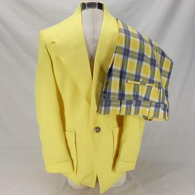 VTG Retro Ratner Men's Yellow Suit Jacket Coat Jaymar Blue Gray Plaid Pants