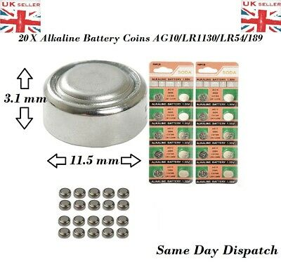 20 X pcs AG10 GP189 SR54 LR1130 L1131 1.5V Alkaline Button Cell Battery soda UK