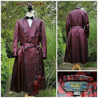 "Rare Vintage Mens Sulka Silk Dressing Gown Robe Smoking Jacket L Xl 50"" Chest"