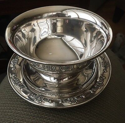Gorham STRASBOURG STERLING Stunning Mayonnaise Bowl With Attached Underplate