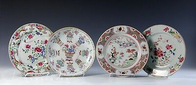 Nice Lot Of 4 Antique Chinese Export Porcelain Plates - 18/19C