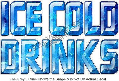"""14"""" Ice Cold Drinks Soda Water Concession Trailer Food Truck Menu Sign Decal"""