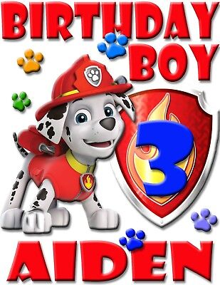 Personalized Marshall Paw Patrol Birthday Shirt Add Name & Age For Family