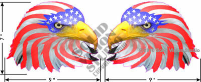 "Two 7""x9"" Bald Eagle American Flag Car Truck USA Decal"