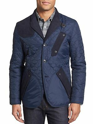 NWT Barbour White Mountaineering Trim Fit Quilted Stitch Jacket Large L Navy