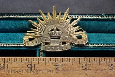 Original WWII or Earlier AUSTRALIAN MILITARY FORCES Brass Cap Badge - 2 Lugs