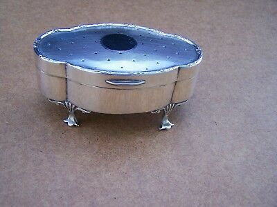 Antique English Birmingham Sterling Silver Footed Trinket / Ring Box 1918