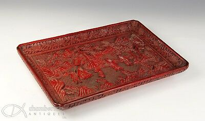 Large Old Chinese Carved Lacquer Tray With Figures