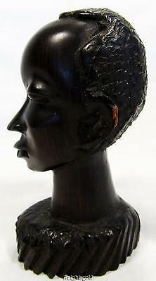 "African Tribal Bust Statue Hand Carved Ebony Wood Vintage 9 cm / 3.5"" Tall"
