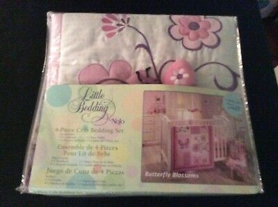 New 4 Piece Crib Bedding Set Butterfly Blossom Pink Purple Comforter Bed Sheet