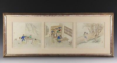 Great Set Of Three Antique Chinese Paintings Of Figures With Marks