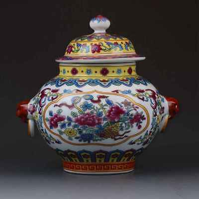 Chinese Famille Rose Porcelain Hand-painted Flower Pot W Qianlong Mark gd4324