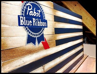 Rustic Wooden Pabst Blue Ribbon Beer Flag