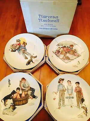 1975 Limited Edition Gorham Norman Rockwell Four Seasons Plates Set of 4 Boxes
