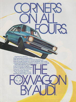 1976 Audi Foxwagon: Corners On All Fours (27256) Print Ad