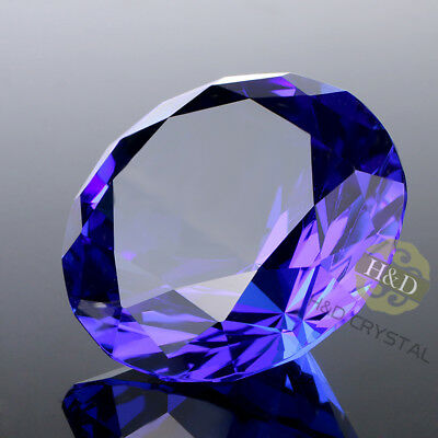 Crystal Blue Paperweight Faceted Cut Glass Giant Diamond Jewel Gift Mini 30mm