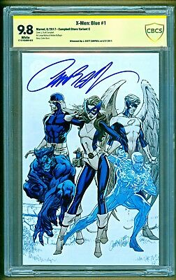 X-Men Blue #1 Marvel Cover C Virgin Variant Signed J Scott Campbell CBCS 9.8