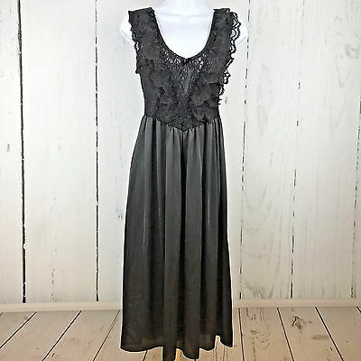 Vintage Vandemere Nightgown Lingerie Small Black Satin Lace Ruffles Made in USA