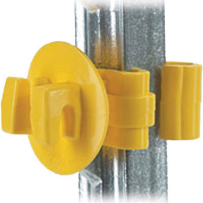 "Electric Fence Insulator Snug 1"" T Post Yellow Barbed Pasture Farm 25 Ct"