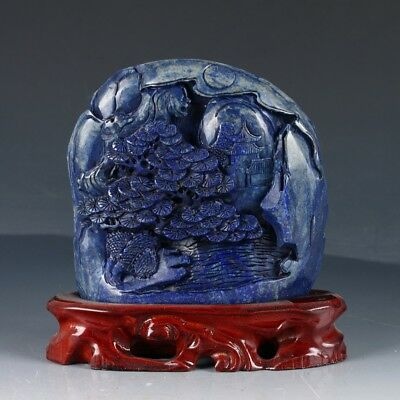 100% Natural Lapis Lazuli Handwork Carved Pine Tree & House Statue DY230