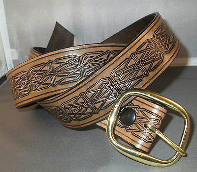 """1 1/2"""" antiqued brown belt, embossed Celtic knots, will fit waists up to 47"""""""