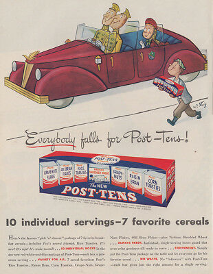1946 Post Tens Cereal: Everybody Falls, Steig (26665) Print Ad