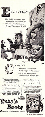 1948 Puss n Boots Cat Food: E is for Elephant (24557) Print Ad