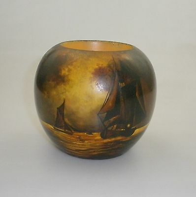 Pokerwork Vase  Decorated With Sailing Ships