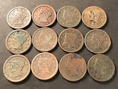 Lot of 12 Low Grade Braided Hair Old US Large Cent Cull Coins 99 Start!