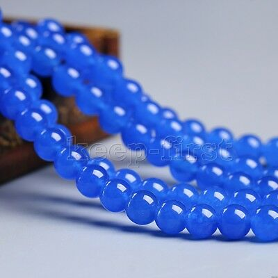 "8mm Natural Blue Jade Round Gemstone Jewelry Making Loose Beads 15"" Strand"